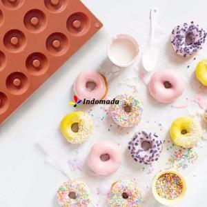 Harga indomada cetakan silikon donat mini 18 cavity donut pan cake | HARGALOKA.COM