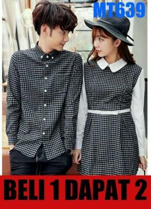 Harga dress pasangan dress couple baju couple kemeja kotak murah korea   | HARGALOKA.COM