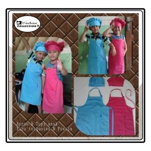 Harga apron celemek anak topi biru turkis dan fucia merah fanta | HARGALOKA.COM