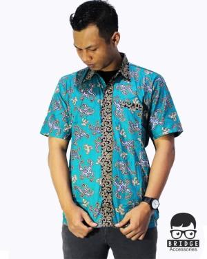 Harga kemeja pria   batik pekalongan   batik kondangan   batik kerja pria  2   hijau tosca | HARGALOKA.COM