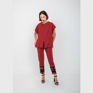 Harga oemah etnik red lan tenun top   | HARGALOKA.COM