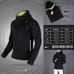 Harga nike training jacket thumbhole black   jaket olahraga  pakain jogging   hitam   HARGALOKA.COM
