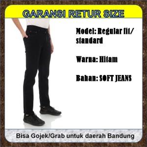 Harga celana jin panjang pria hitam regular fit standard lurus bahan | HARGALOKA.COM