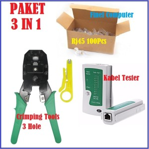Harga paket 3 in 1 crimping tools   kabel tester   rj45 cat5e | HARGALOKA.COM