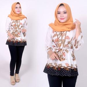 Harga batik zakiya   baju batik wanita   model blus batik   motif bambu   putih | HARGALOKA.COM