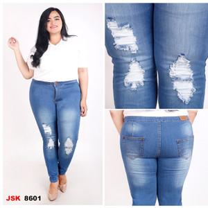 Harga jsk jeans highwaist ripped skinny jeans big size   biru muda   HARGALOKA.COM