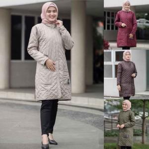 Harga jaket jacket panjang muslimah wanita cewek hijaber hijacket blv 2   krem | HARGALOKA.COM