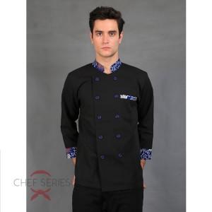 Harga chef series emerald batik tangan panjang baju koki   hitam biru   hitam   HARGALOKA.COM