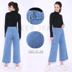 Harga celana jeans kulot tali pinggang waist belt culotte jeans   biru tua | HARGALOKA.COM