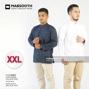 Harga terbaru baju koko pria lengan panjang polos casual size xxl mabsooth   putih | HARGALOKA.COM