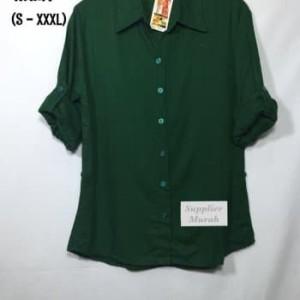 Harga atasan kemeja wanita rayon basic polos warna hijau big size | HARGALOKA.COM