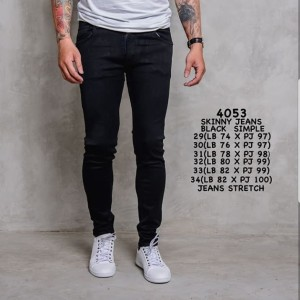 Harga celana jeans panjang pria cowok hitam polos slimfit jins murah tebal   | HARGALOKA.COM