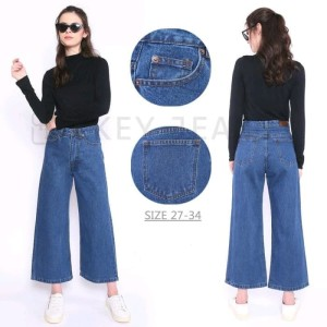 Harga celana jeans kulot panjang   hitam | HARGALOKA.COM