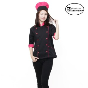 Harga baju koki wanita baju masak baju chef wanita seragam koki   hitam | HARGALOKA.COM