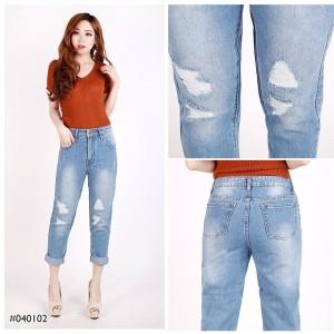 Harga celana panjang jeans wanita sobek model boyfriend jeans cewek trendy   biru muda | HARGALOKA.COM