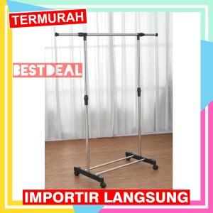 Harga stand hanger single murah   rak serbaguna dengan 4 roda jemuran | HARGALOKA.COM