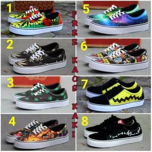 Harga sepatu kasual vans rasta school sneakers motif gambar free kaos | HARGALOKA.COM