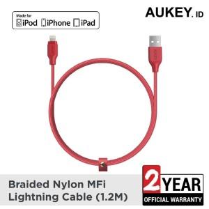 Harga aukey cable 1 2m lightning braided mfi apple red   | HARGALOKA.COM