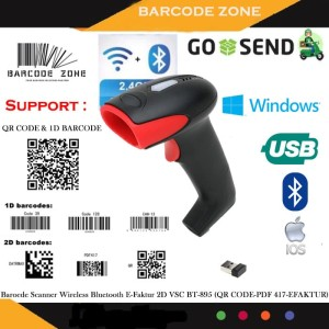 Harga efaktur 2d qr code wireless barcode scanner vsc bt895 bluetooth 2 4g | HARGALOKA.COM