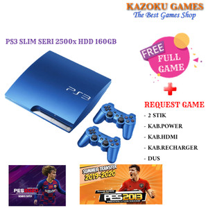 Harga ps3 slim splash blue 320gb 2 stick full | HARGALOKA.COM
