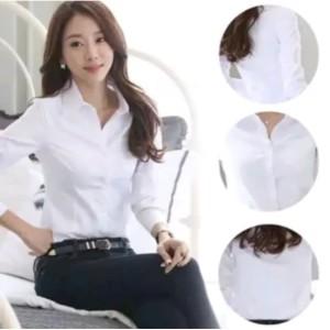 Harga baju kemeja kerja formal wanita putih polos lengan | HARGALOKA.COM