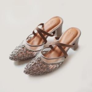 Harga vaia sepatu heels wanita scarlet brown 7cm     HARGALOKA.COM