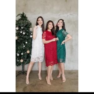 Harga dress brukat wanita import bahan brukat lace harga 485 000   putih | HARGALOKA.COM
