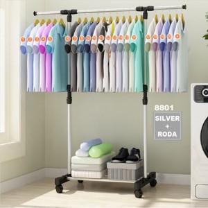 Harga stand hanger single rak serbaguna dengan 4 roda   silver ada | HARGALOKA.COM