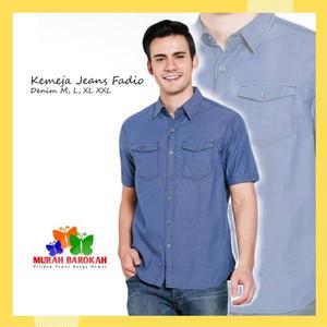 Harga kemeja jeans amp denim kemeja pendek pria casual fadio murah kualitas   | HARGALOKA.COM