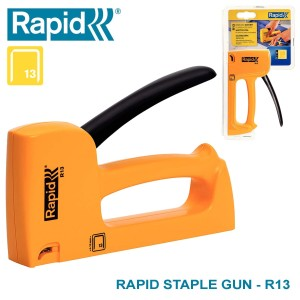 Harga rapid r13 staple gun stapler tacker otomatis steples tembak | HARGALOKA.COM