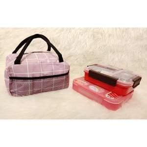 Harga tas bekal makanan lunch box alumunium foil m105 b kotak | HARGALOKA.COM