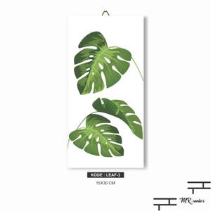 Harga hiasan dinding rumah poster kayu daun monstera tropical leaf 3   | HARGALOKA.COM