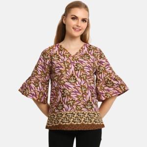 Harga anakara blouse batik wanita   flaria top meysha   ungu   ungu | HARGALOKA.COM