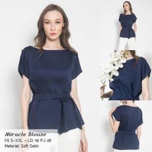 Harga blouse satin baju atasan wanita s xxl   big size miracle blouse   | HARGALOKA.COM