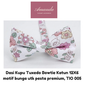 Harga dasi kupu tuxedo bowtie katun dewasa 12x6 motif bunga inc box | HARGALOKA.COM