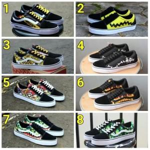 Harga sepatu pria casual vans old school anak sekolah kuliah free kaos | HARGALOKA.COM