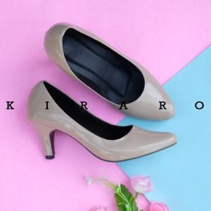 Harga kiraro sepatu hak tinggi heels glossy polos wanita casual khbr04   ivory   HARGALOKA.COM