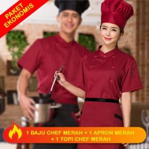 Harga set combo profesional chef baju apron topi jamur merah pria | HARGALOKA.COM