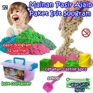 Harga mainan pasir kinetik pasir ajaib paket irit 500gram cetakan castile   HARGALOKA.COM