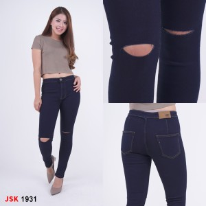 Harga jsk jeans highwaist ripped 1931   navy   HARGALOKA.COM