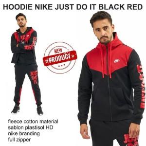 Harga jaket hoodie nike just do it black red grade   HARGALOKA.COM