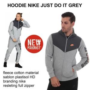 Harga jaket hoodie nike just do it grey black grade   HARGALOKA.COM