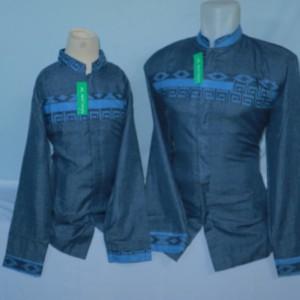 Harga baju koko muslim pria dewasa dan anak couple biru lengan panjang baru   biru   HARGALOKA.COM