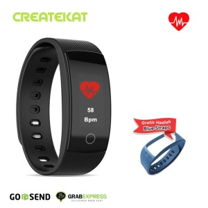 Harga createkat smart band pemantau denyut jantung smartwatch hitam katfit1   | HARGALOKA.COM