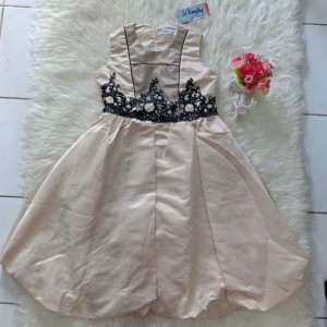 Harga dress anak perempuan baju pesta coklat donita size | HARGALOKA.COM