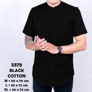 Harga baju kemeja lengan pendek pria casual kerah shanghai hitam polos 3378   hitam | HARGALOKA.COM