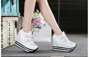 Harga hot promo sepatu wanita sneakers wedges kets tebal tinggi bagus | HARGALOKA.COM