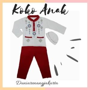Harga baju koko anak putih mix anak 4 8 th katun kaos combed | HARGALOKA.COM