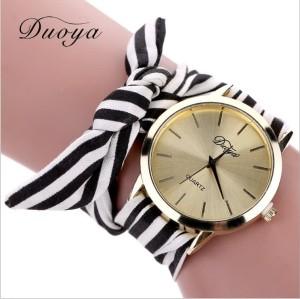 Harga jam tangan strap kain pita quartz casual motif garis warna emas fas215   hitam | HARGALOKA.COM
