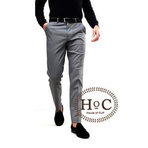Harga celana bahan formal kerja pria slim fit abu medium pants trouser   | HARGALOKA.COM